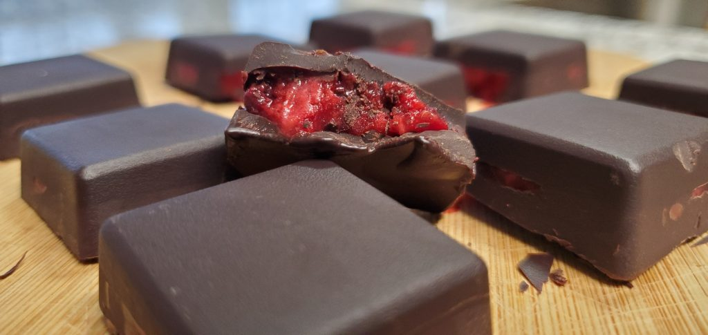 raspberry filled chocolate candies